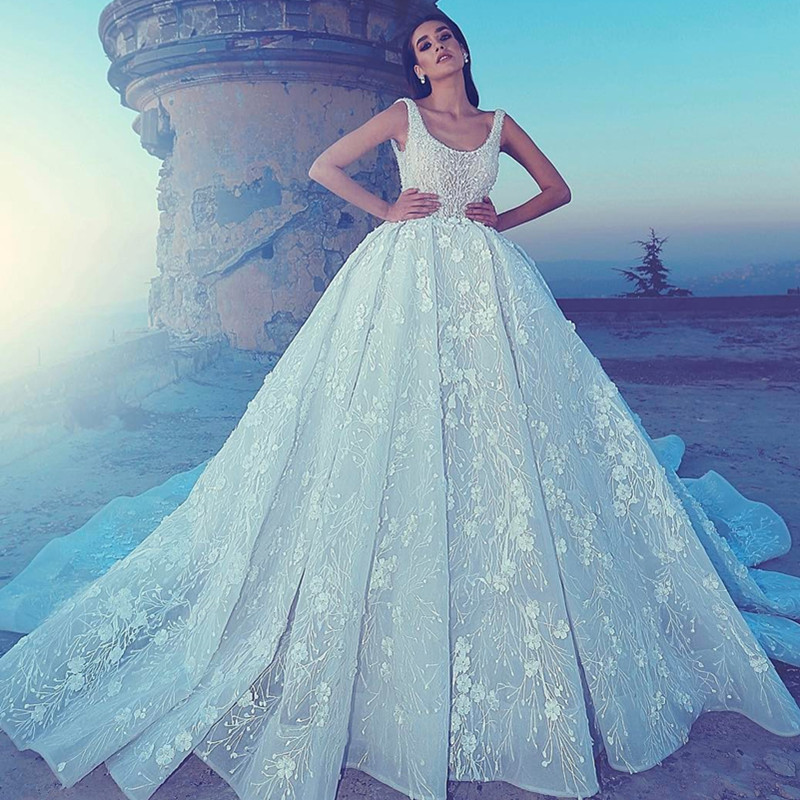 Vestido De Novia Luxury Beaded Wedding Dress Sexy Open Back Square Collar Wedding Gown Full Lace Appliques Bride Dress