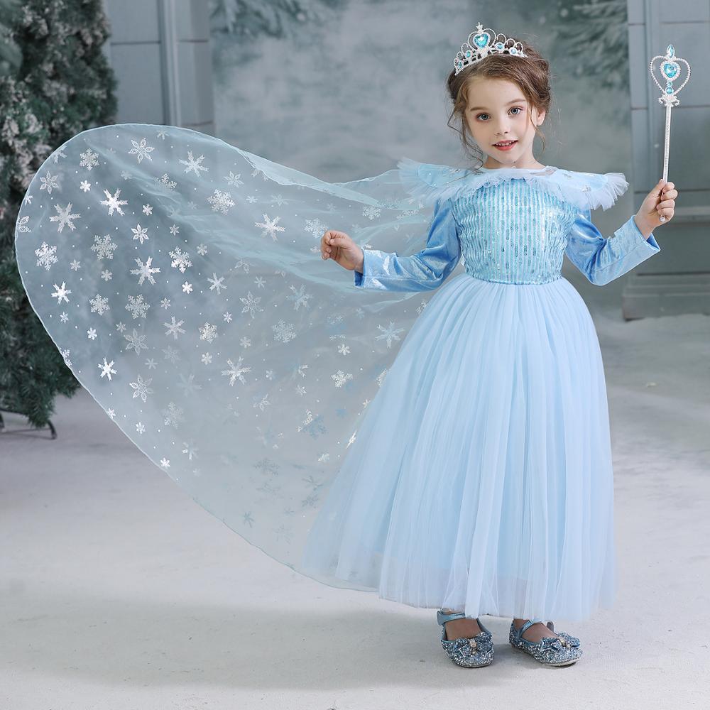 New Elsa dress long sleeve girl costume snow queen party dress Anna girls clothes vestidos infantis Congelados disfraz princesa 6
