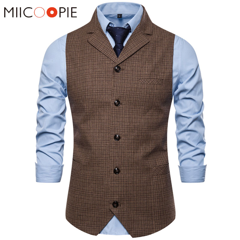 Suit Vest Waistcoat Tuxedo Formal-Dress Plaid Wedding Single-Breasted Mens Fashion Business