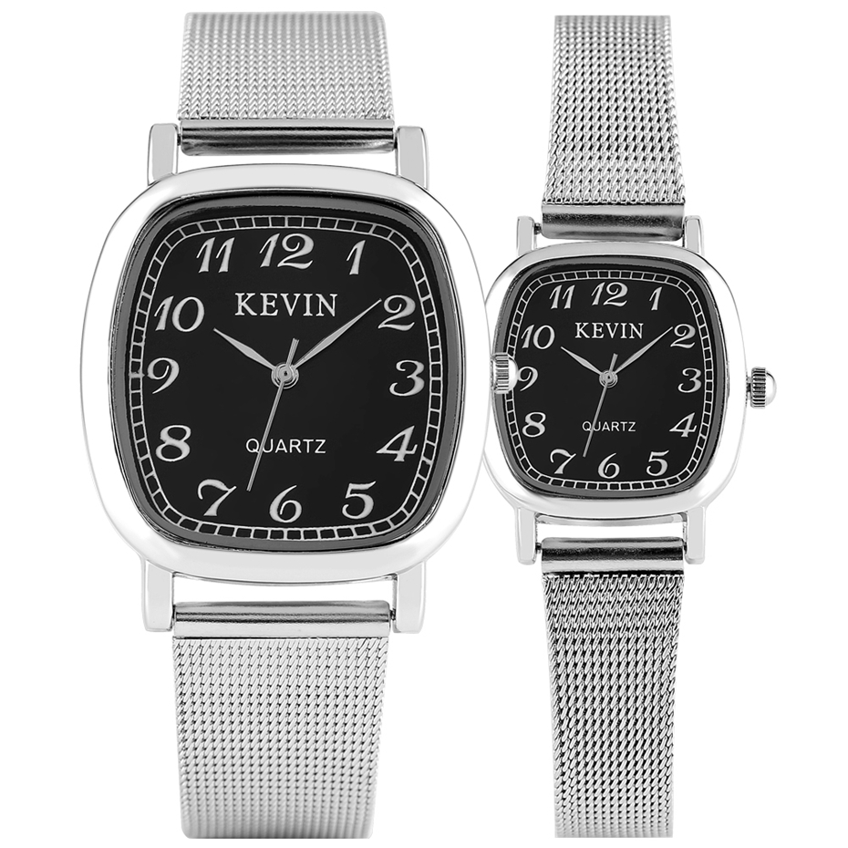 Silver Stainless Steel Lovers Watches KEVIN Brand Couple Quartz Watch Arabic Numeral Display Square Dial Casual Men Women Clock