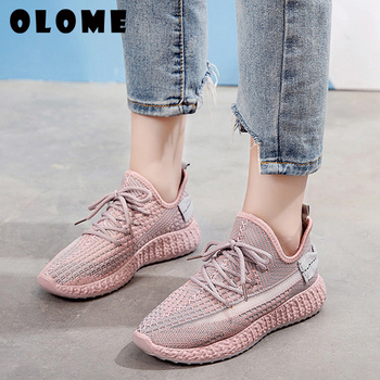 Women's Sneakers Flat Knitting Autumn Plus Size Female Mesh Vulcanized Women Shoes Ladies Slip On Breathable NEW Casual Loafers