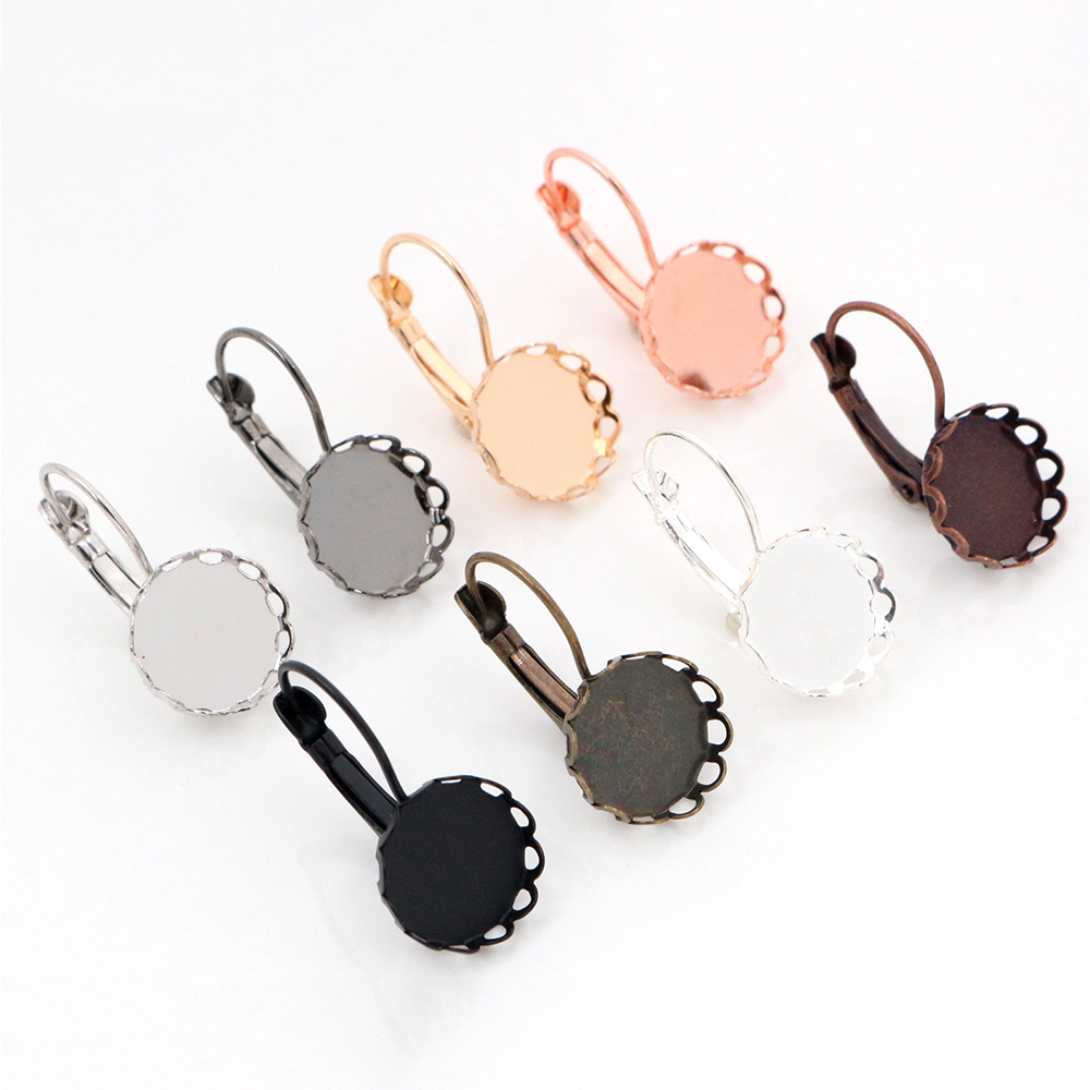 12mm 10pcs 8 Colors Plated French Lever Back Earrings Blank/Base,Fit 12mm Glass Cabochons,Buttons;Earring Bezels
