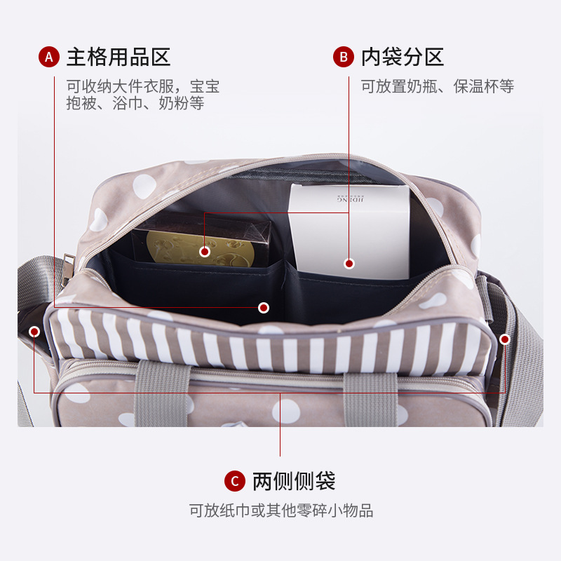 2019 New Style Fashion Mommy Women's Multi-functional Large Capacity Shoulder Mom And Baby Nursing Mom Storage Travel Oblique Ba