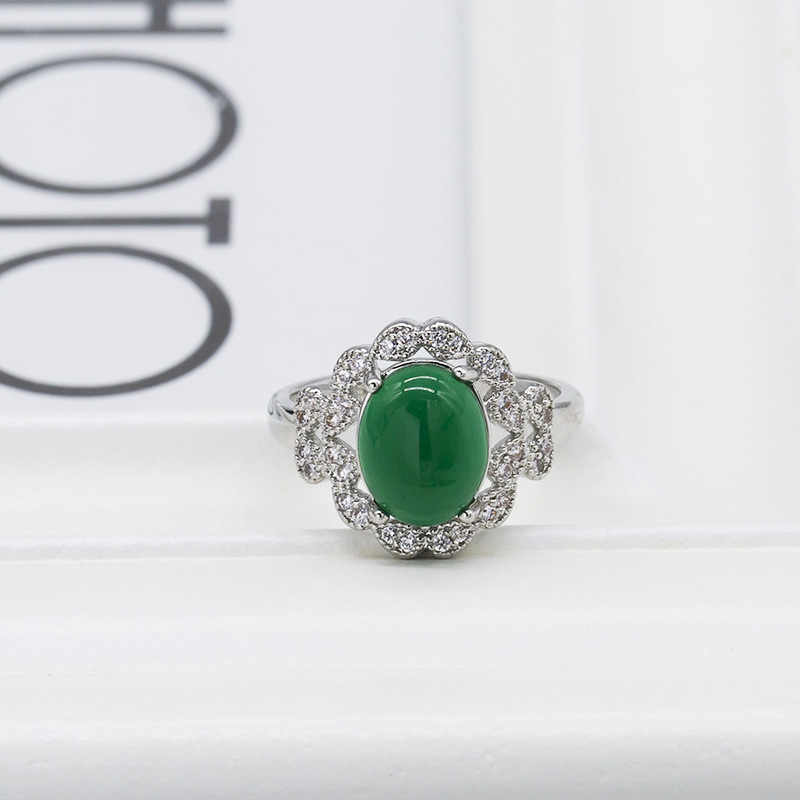 Modyle argent couleur bagues de mariage Femme bijoux avec pierres vertes femmes accessoires bijoux Bague Bague Femme Anel amoureux cadeau