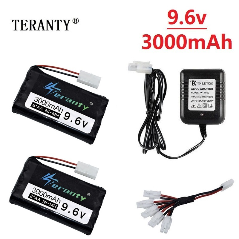 9.6v 3000mah NiMH Battery With Charger For Rc Toys Car Tank Robots Gun RC Boat AA Ni-MH 2400mah 9.6v Rechargeable Battery Pack