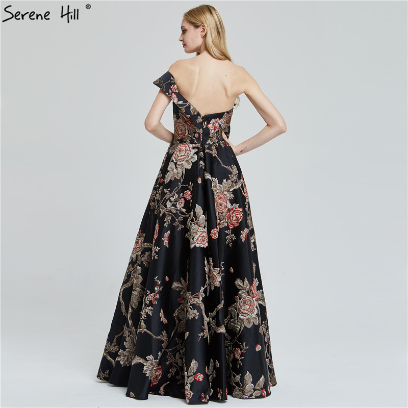 Image 4 - Navy Blue Embroidery Flowers Sexy Evening Dresses 2020 One Shoulder Sleeveless Evening Gowns Serene Hill LA60904Evening Dresses   -