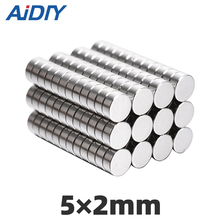 AIDIY 50/100 pcs 5x2mm permanent neodymium magnet  super strong 5 * 2 Mini small round Rare Earth Magnetic magnets Disc x 2mm