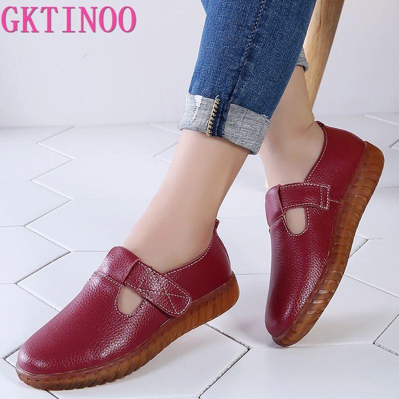 Женская обувь GKTINOO, мягкая обувь из натуральной кожи на застежке липучке, на резиновой подошве, 2020|Обувь без каблука|   | АлиЭкспресс