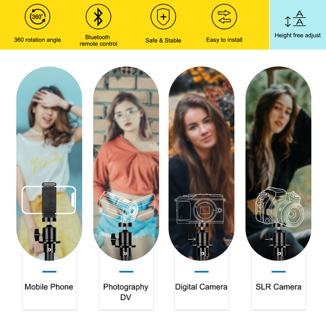 Tripod For Phone Tripod Stand Ring Light  1/4 Screw Head Flexible Selfie With Bluetooth Remote Control  Holder For Phone 2