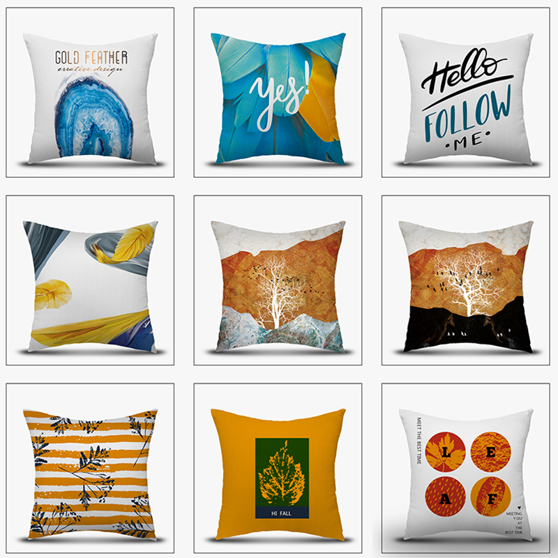 Pillow Case Modern Simple Style Double Sides Pillow Cover Home Decorative Pillowcovers Sofa Bed Living Car Decor 45x45 CM