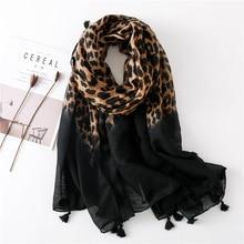 Moda europa ameryka bawełniany pompon szalik wzór ze zwierzętami Leopard szalik wiosna jesień zima długi wszechstronny szal Pashmina