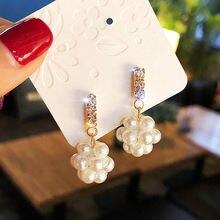 Korean geometric inlaid crystal imitation pearl ball earrings