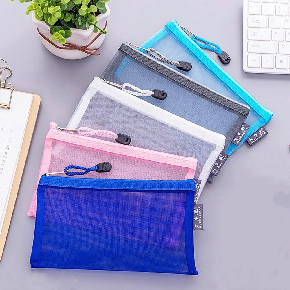 Simple Transparent Mesh Pencil Case Office Student Pencil Cases Nylon  Pencil Cases School Supplies Pen Box School Case