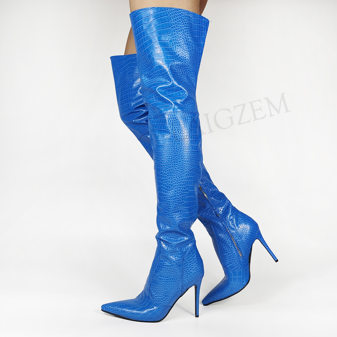 LAIGZEM Women Thigh High Boots Blue Corcodile Side Zip Stiletto Heels Boots Over Knee Botas Spring Summer Large Size 43 45 46 47