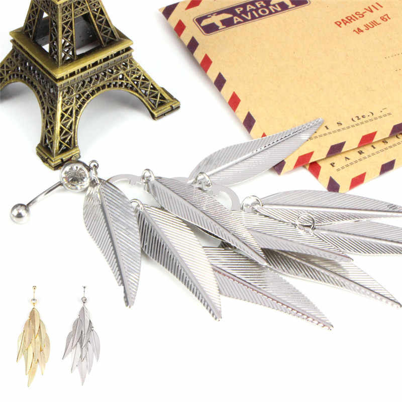 Crystal Tassel Leaves Belly Button Ring Body Piercing Navel Ring Hot Sale