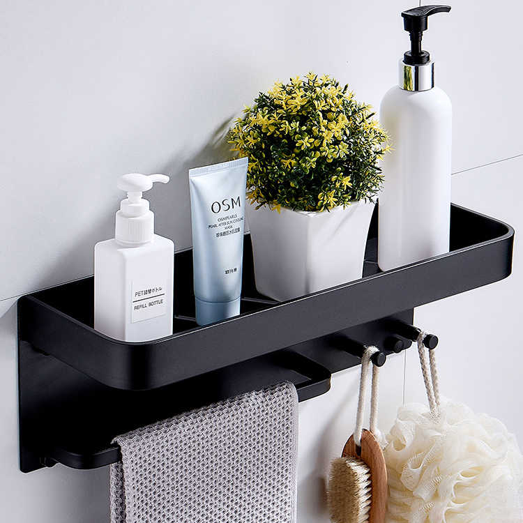 Nail Free Black Space Aluminum Bathroom Shelves With Hooks Wall Mount Bathroom Shelf Bath Storage Rack Hook Easy to Install