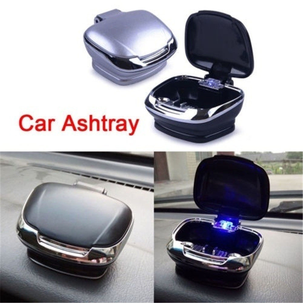 Car Auto Cigarette Lighter Ashtray Smokeless USB Charge Blue LED Light Indicator