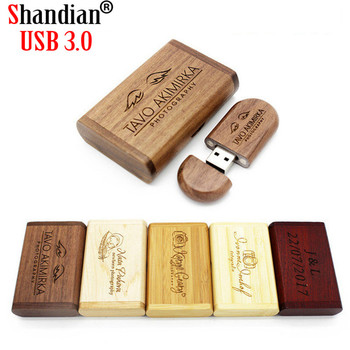 1 PCS Free LOGO High Speed Wooden USB 3.0 Flash Drive 4G 8G 16G 32GB 64GB 128G Photography Gifts Pen Drives Real Capacity U Disk