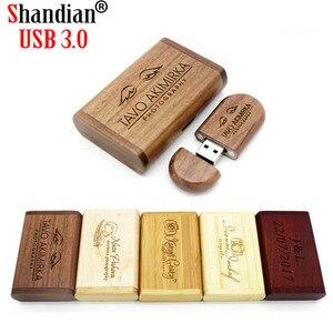 SHANDIAN USB 3.0 wooden custom Personal LOGO pen drive 8GB 16GB 32GB 64GB usb Flash Drive pendrive U disk(1pcs free logo