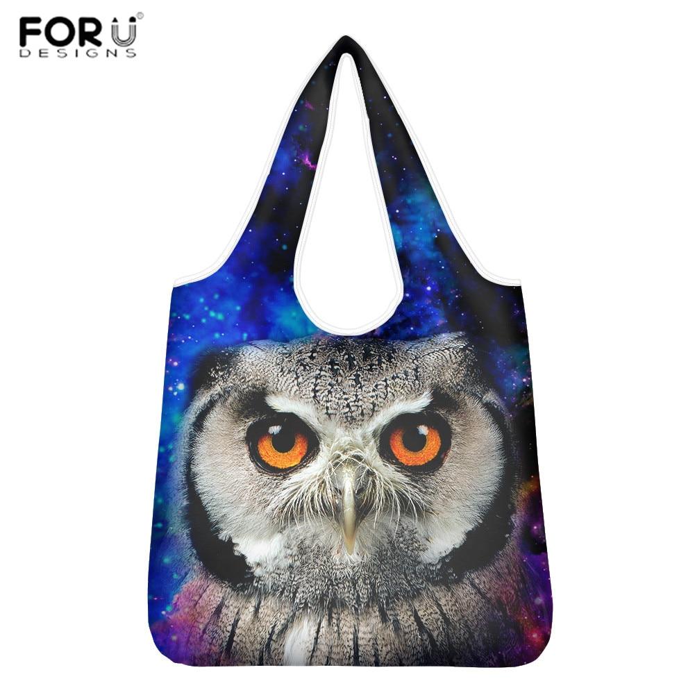 Bolsas de Mercearia Bolsala de Compras Bolsas com Malote a Granel Forudesigns Reusáveis Galaxy Print Dobrável Grande Lavável 2020 Owl