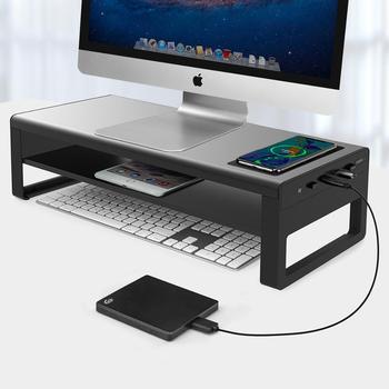 Vaydeer 2 poziomy aluminiowa podstawa monitora z bezprzewodowym ładowaniem i 4 porty USB 3 0 huby obsługują Transfer danych tanie i dobre opinie NoEnName_Null CN (pochodzenie) 20 ZG8032 With wireless charging and a 4USB port For computer monitors
