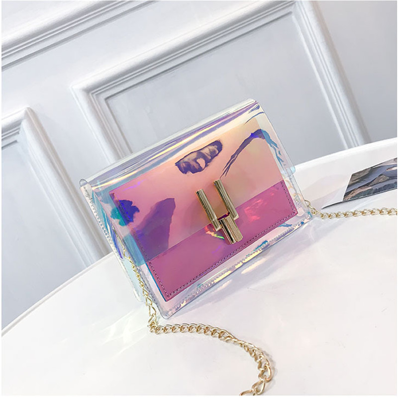 2019 Brand New Fashion Women Transparent Laser Bag Summer Sweet Ladies Girls PVC Chain Bag Adjustable Belt Women Bags
