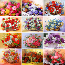 5D Diamond Painting Flower Basket Full Round Drill DIY Mosaic Diamond Embroidery Cross Stitch Homre Decor diamond embroidered flower mosaic full of cross stitch diamond paint 5d diamond round drill point dianthus caryophyllus