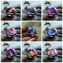 Dream Nebula Galaxy Double Sided Pendant Necklace Universe Planet Jewelry Glass Art Picture Handmade Statement Charm Necklace 2019 new dream nice nebula necklace various galaxy space pattern glass alloy necklace pendant solar system popular jewelry