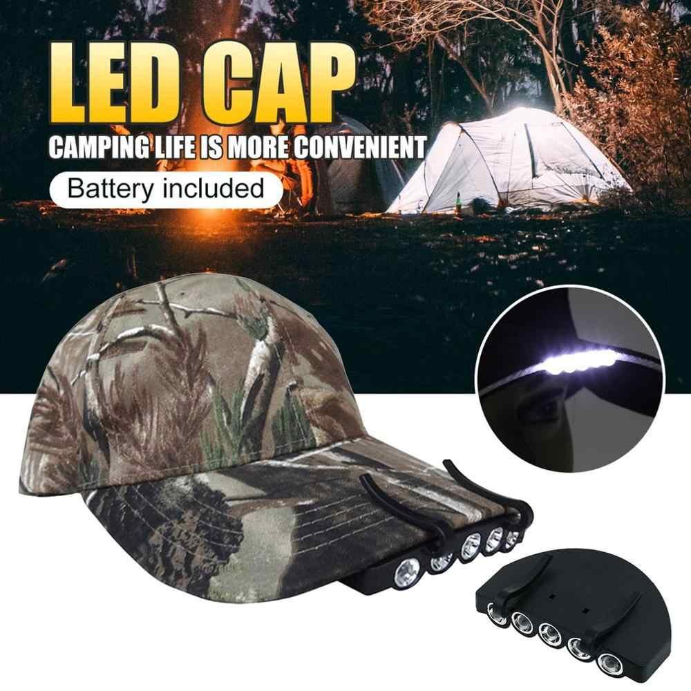 Tragbar Outdoor Zelten Angeln Clip On Cob LED Kappe Hut Licht Schwarz