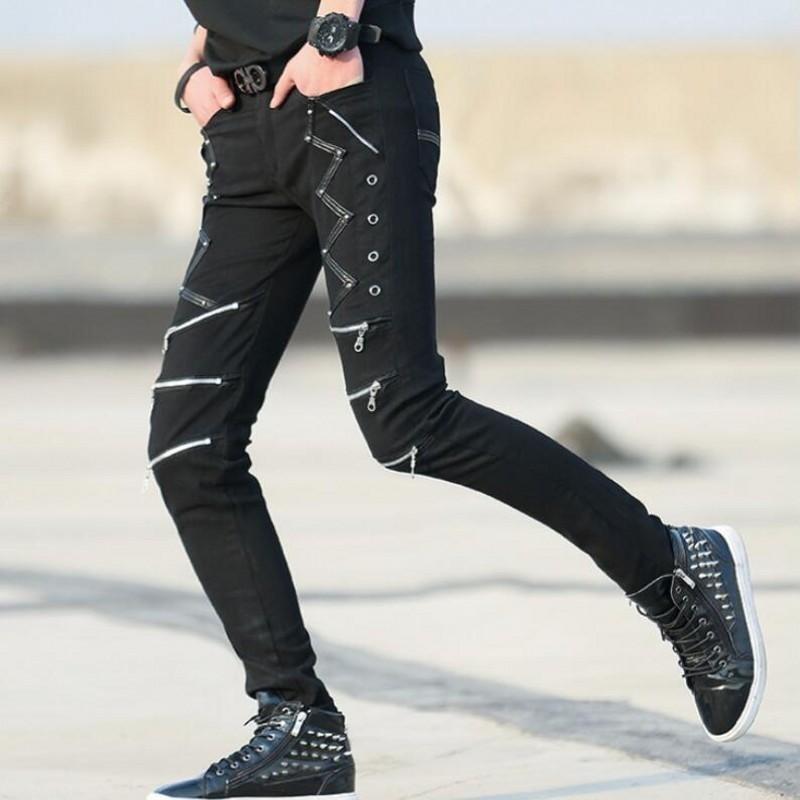 Mens 2020 Summer New Black Nightclub Trousers Male Punk Zippers Skinny Pants Korean Slim Fit Casual Rock Pantalon Homme Black