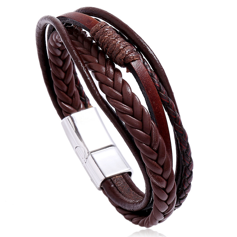 New design 2020! Multilayer Handmade Braided Genuine Leather Bracelet & Bangle For Men, Fashion Stainless Steel Bangles, Gifts