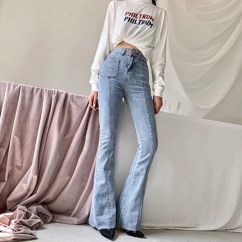 Women High-Rise Waist Buttons Flared Jeans Elastic Jeans