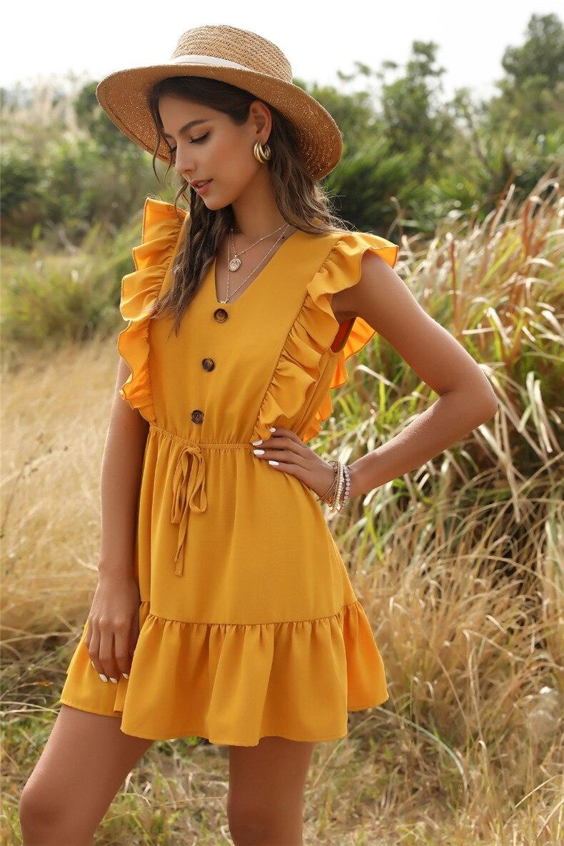 Ruffle Off Shoulder High Waist V Neck Casual Boho Beach Yellow Dress 32
