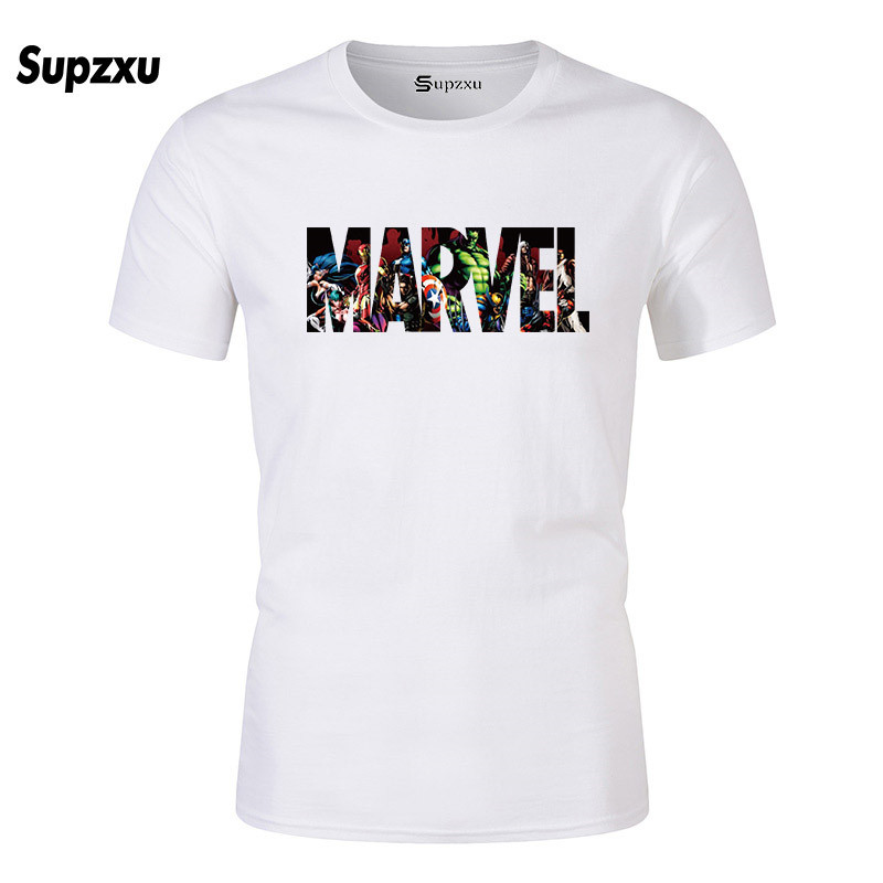New Fashion Harajuku Casual Wear Men's T-shirt Punk Rock MARVEL Cotton T-shirt Casual Stylish Men's Tops
