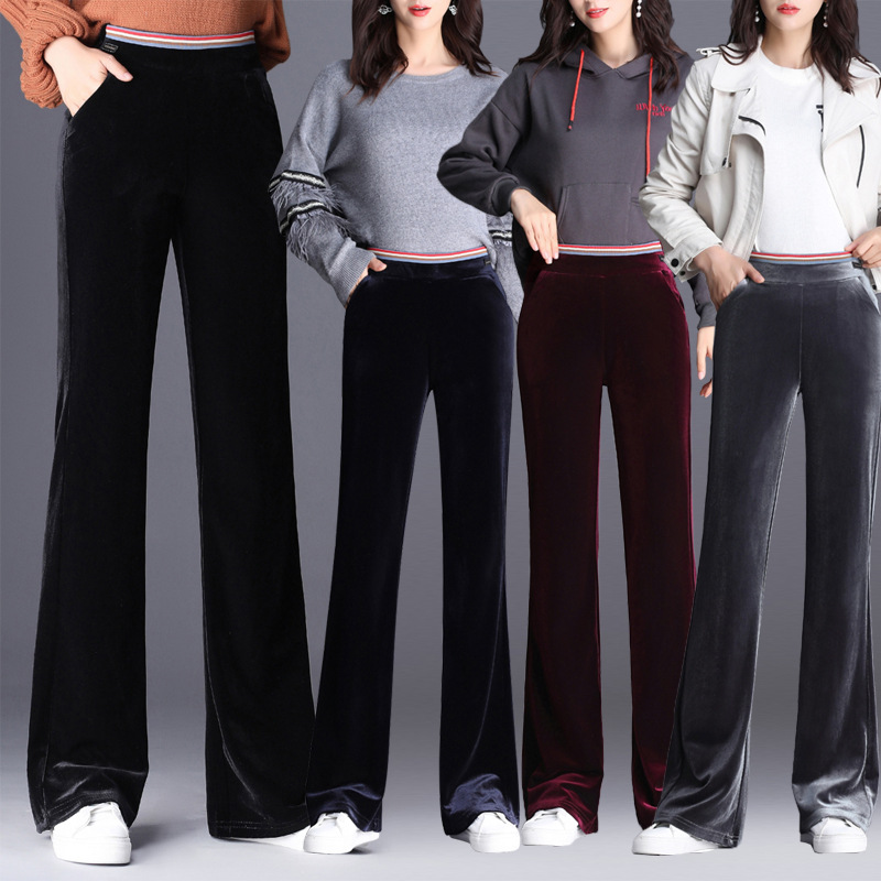 Pendant Sense Gold Velvet Micro Bell-bottom Pants Women's 2019 Autumn Elastic Waist High-waisted Straight-Cut Casual Trousers Wi