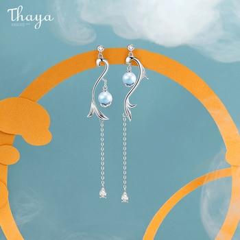 Thaya 100% S925 Sterling Silver Earrings Tassels Mermaid Drop Dangle Drop Earring Charms For Women Engagement Gift Fine Jewelry