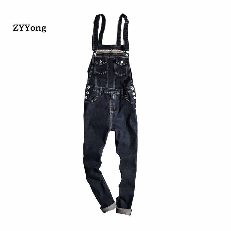 【2019 New】 Mens Jumpsuit Jeans,Male Casual Pocket Trousers Denim Bib Overalls Slim Fit Suspender Pants