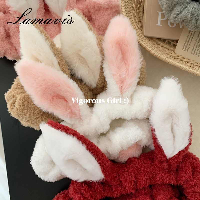 2020 Hot Super Cute Girl Heart Rabbit Ears Headband Wash Face Hairband Japanese Hairband Hair Accessories Female