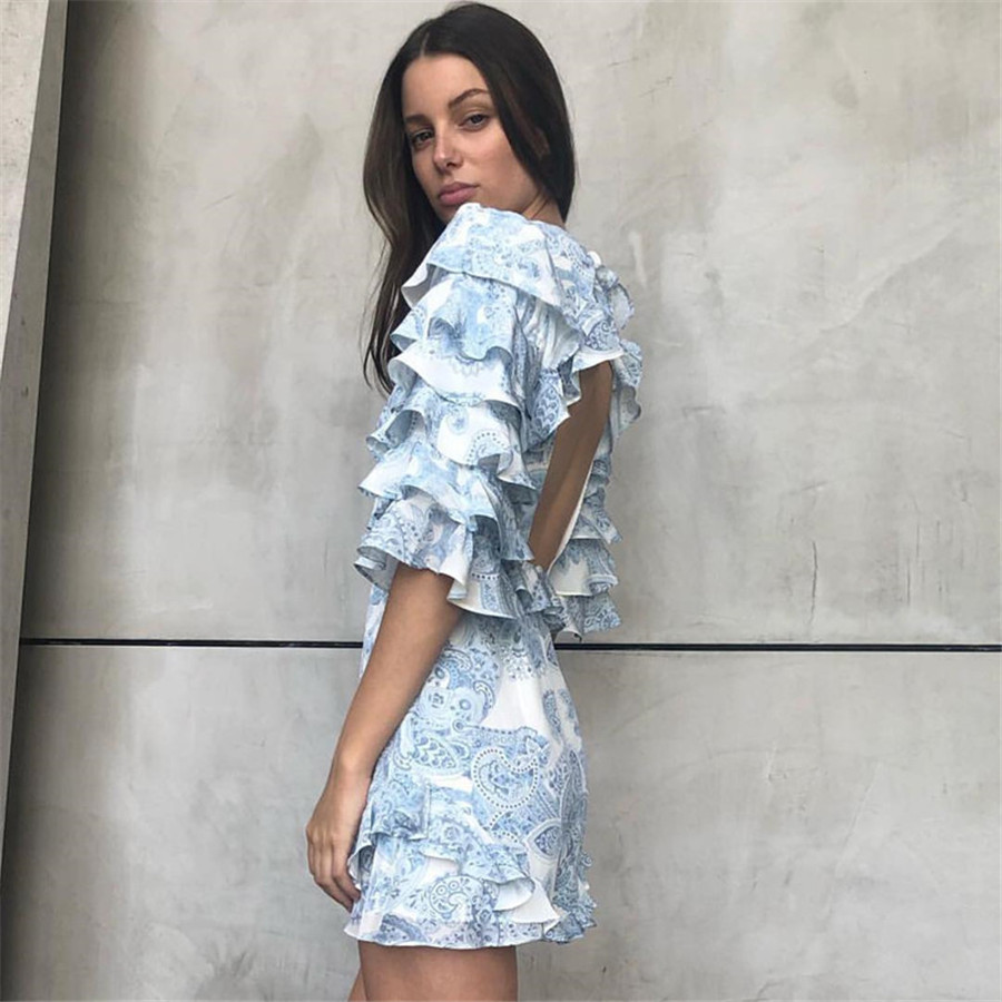 High Quality 2020 Newest Sexy Playsuits Jumpsuits Flower Printed Ruffled Light Blue Rompaers Overalls For Women Holiday
