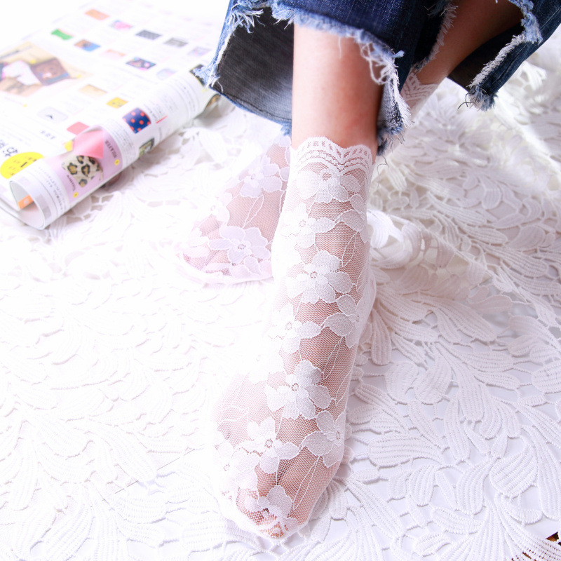 20202 Spring And Summer New Style Hollow Mesh Sexy Lace Socks Women Lace Cotton Bottom Pile Socks Ladies