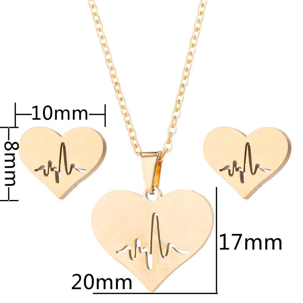 Yiustar Süße Tier Halsketten Schmuck Sets Gold Farbe Edelstahl Ohrring Für Frauen Deer Mond Katze Herz Halsketten Ohrringe