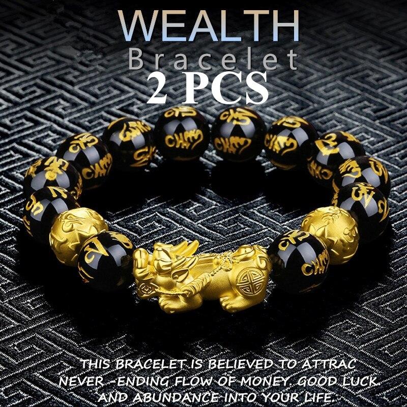 2 шт. обсидиан камень бусы женский мужской браслет фэн шуй позолоченный черный богатство браслет и удача Бог ювелирные изделия