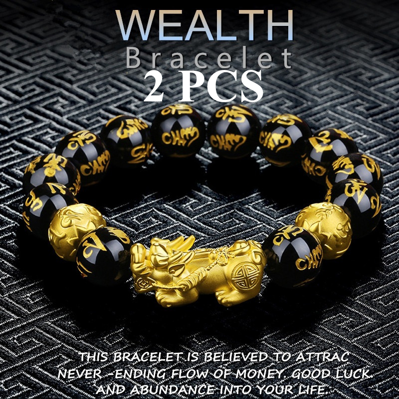 2PCS Obsidian Stone Beads Women man Bracelet Wristband Feng shui Gold plated Black Wealth Bracelet and Luck god Jewelry