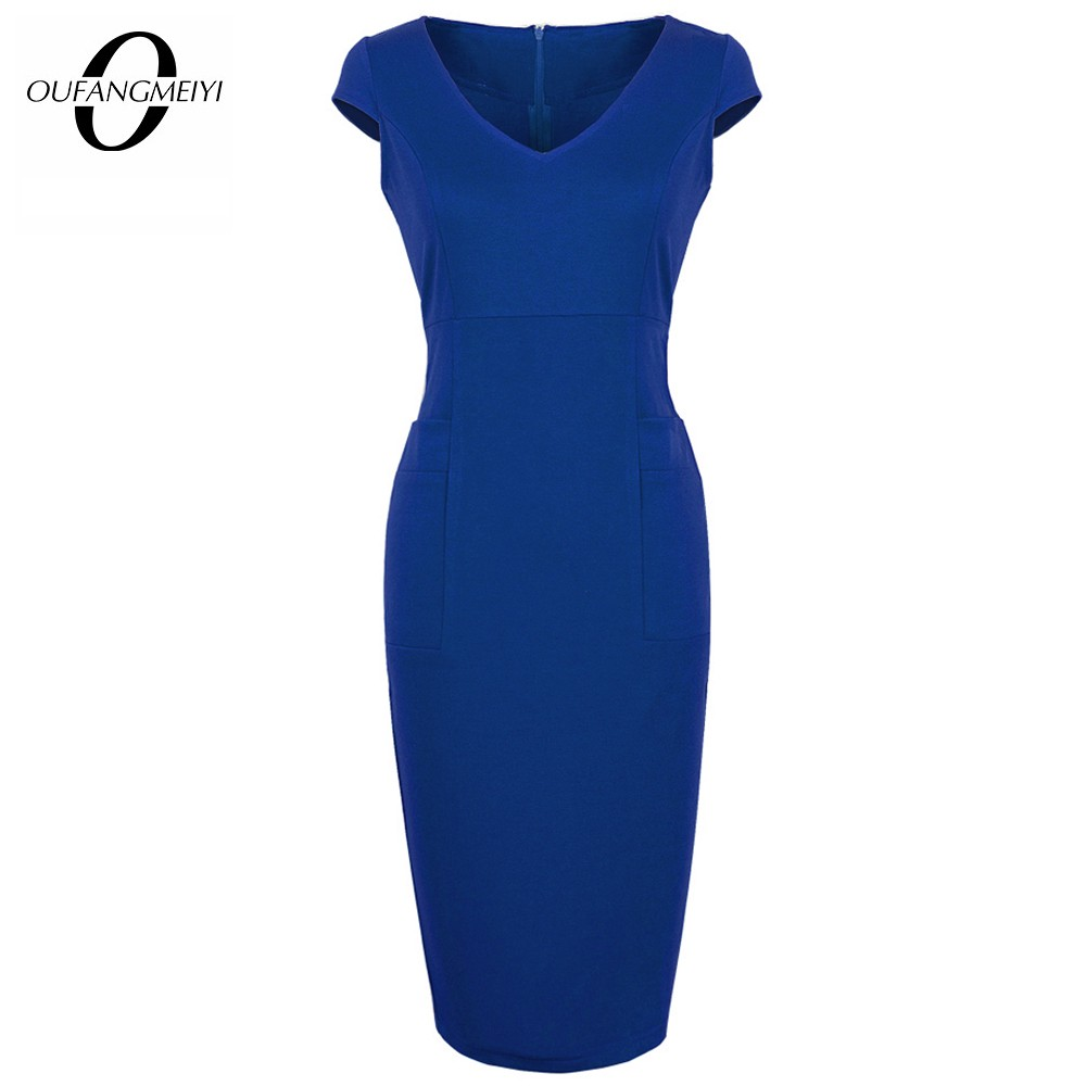 Brief Solid Color Elegant Office Lady Bodycon Dress Summer V Neck Fitted With Pocket Pencil Dress EU284