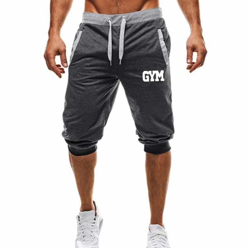 Summer New Mens Shorts Printed Casual Fashion Jogger Knee Length Sweatpants Man Fitness Drawstring Short