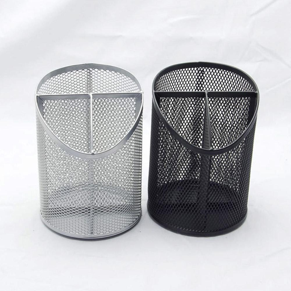 Office Organizer Round Cosmetic Metal Stand Mesh Style Pen Pencil Pot Holder Stationery Container Metal Pencil Case Pen Holder