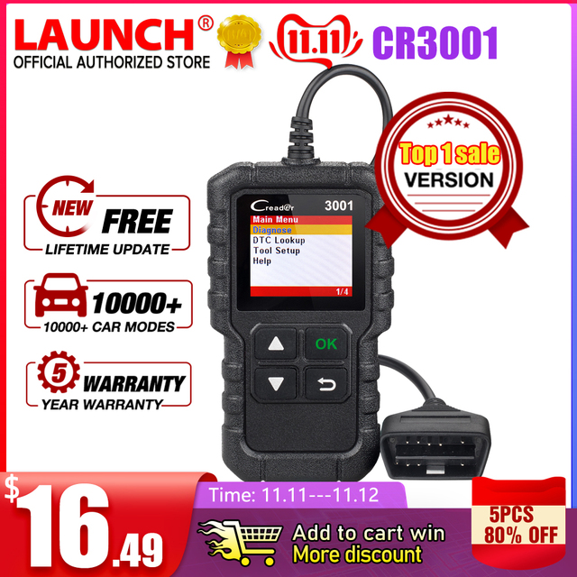 LAUNCH X431 CR3001 OBD2 Scanner Support Full OBD II/EOBD Launch Creader 3001 Auto Scanner diagnostic PK CR319 ELM327 V1.5 v2.1
