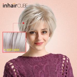 Image 4 - Inhaircubeショートヘアナチュラル前髪ピクシーカットハイライト合成ショートストレート散髪白人女性のための