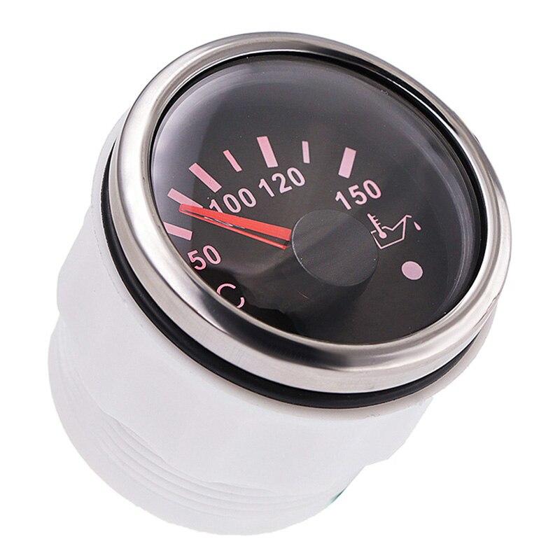 Nouveau jauge de température dhuile 52MM universel 50-150 degrés compteur de température de carburant avec alarme rétro-éclairage rouge pour voiture bateau Auto moto