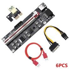 6Pcs VER009S בתוספת PCI E Riser כרטיס PCI Express 1X כדי 16X USB 3.0 כבל SATA כדי 6Pin מחבר עבור גרפיקה וידאו כרטיס כרייה